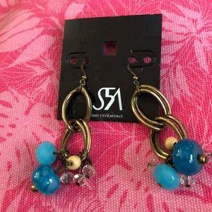 """New Saks Fifth Avenue Dangle Earrings 3"""" glass"""